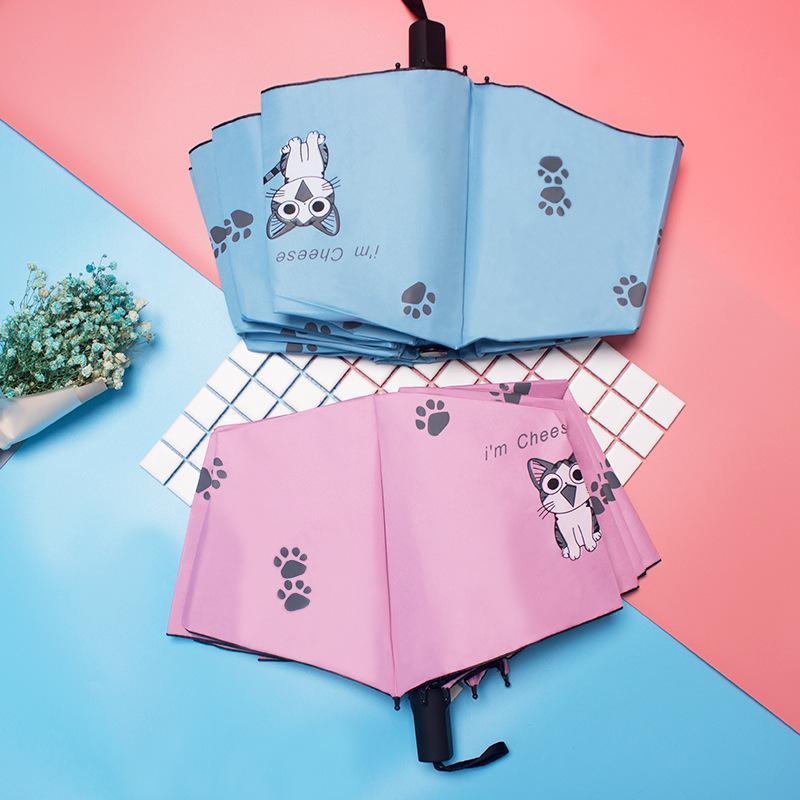 만화 아이 사랑스러운 일 우산 키티 토끼 블랙 접착제 3 접는 써니 우산 일본어 작은 신선한 안티 UV 파라솔