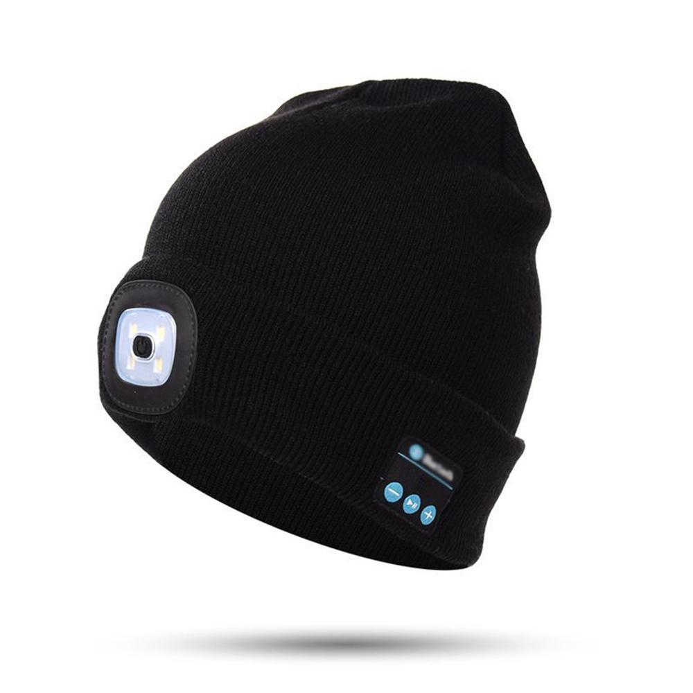 Cap Lamp LED Light Cordless Bluetooth Música Hat Cabo USB Outdoor Sports Beanie