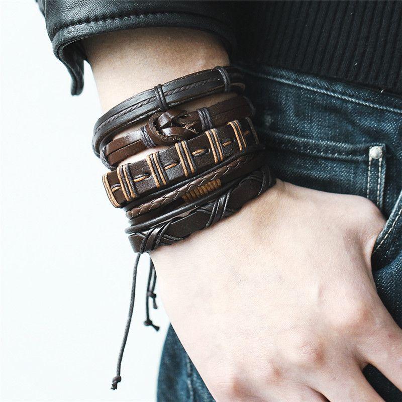 2019 5pcs/set Vintage Brown Wrap Punk Leather Bracelet For Men Woman New Round Multiple Braided Bracelets Fashion Jewelry Gift