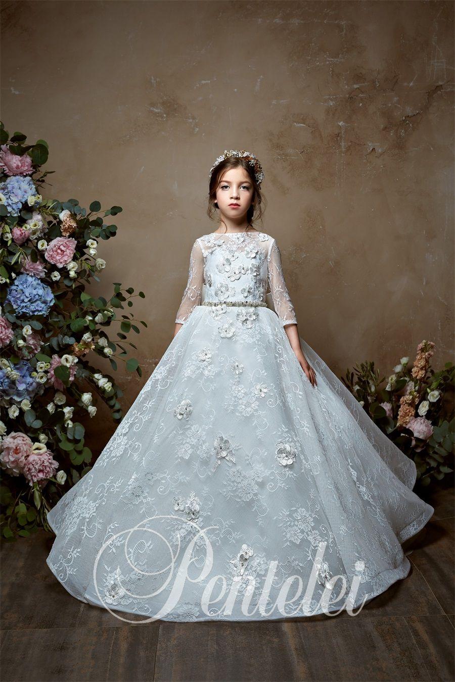 vestidos de primera comunion 2019 pentelei 2338 Lace Kids First Communion Dresses for Little Girls Long Cute Flower Girl Dress