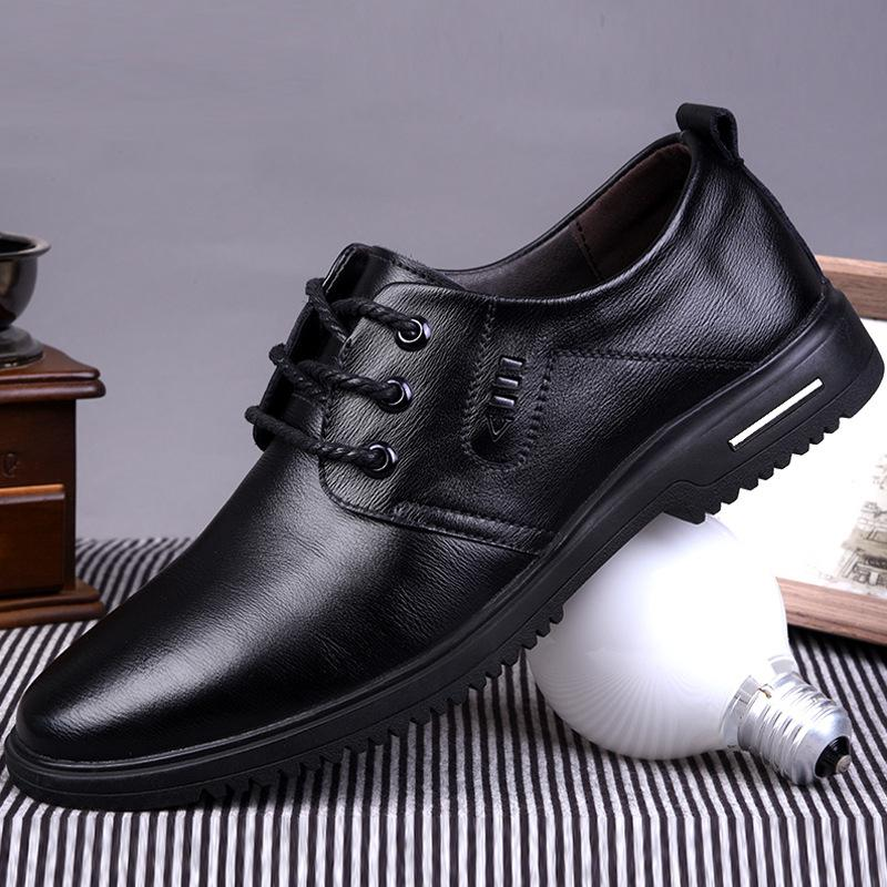 Leather shoes men's casual 2020 spring and autumn new round head fashion leather business low to help lightweight shoes trend