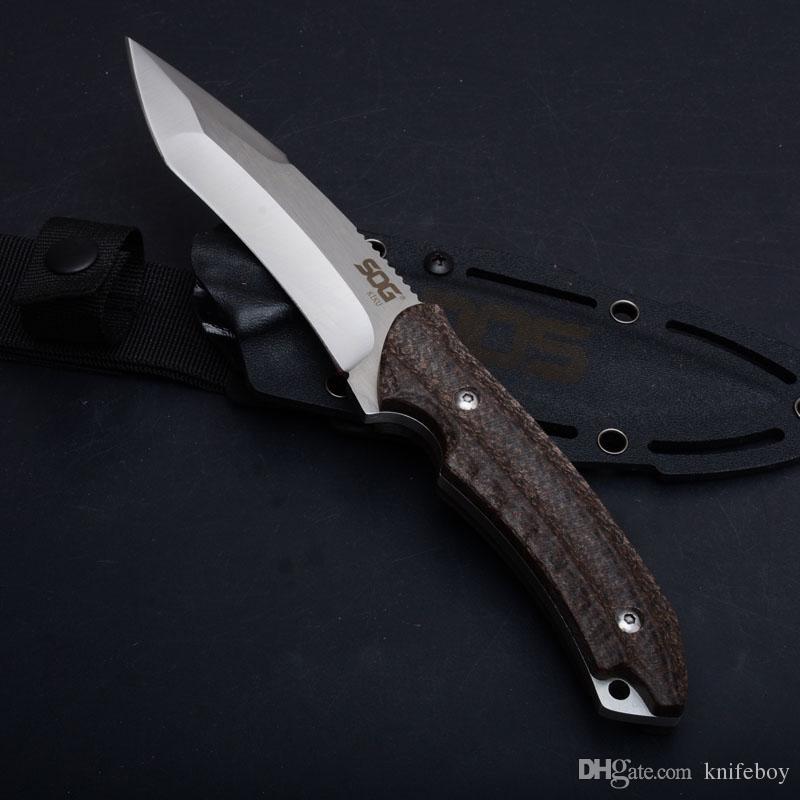 Offre spéciale SOG KIKU Couteau À Lame Fixe Couteau de Chasse Tactique Extérieur AUS-8 Lame Manche de Chanvre Survie Couteaux Stright