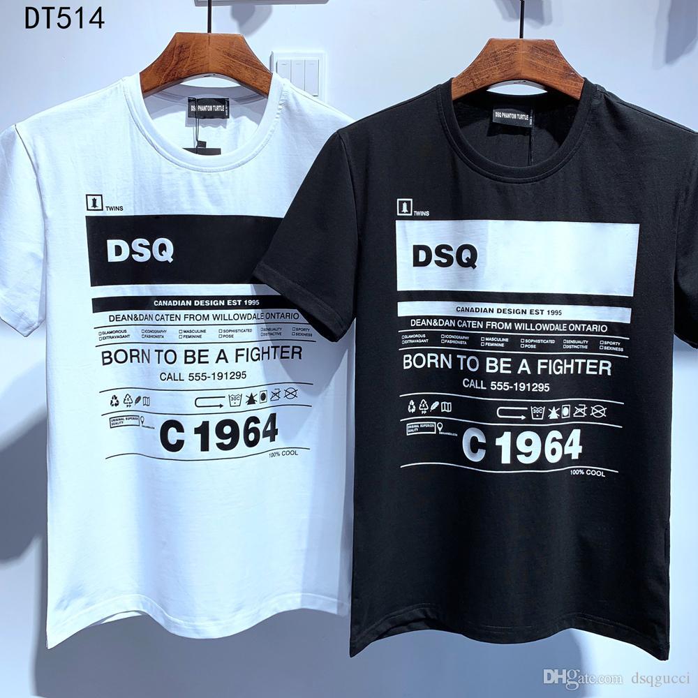 DSQ Phantom Tortue 2020ss New Mens Designer T-shirt Paris Mode T-shirts Été DSQ Motif T-shirt Mâle Top Qualité 100% coton Top 6863