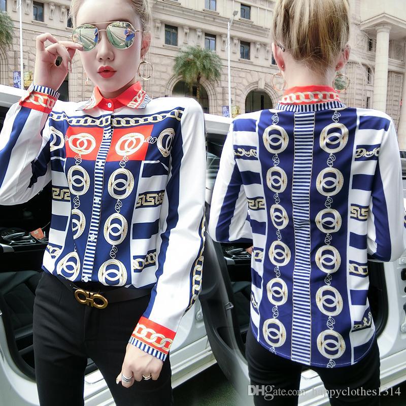 Camisas más el tamaño ocasional elegante botón de solapa de manga larga de cuello blusa de las señoras de pista Oficina delgado de Nueva 2020 Impreso camisa de las mujeres diseñador Tops