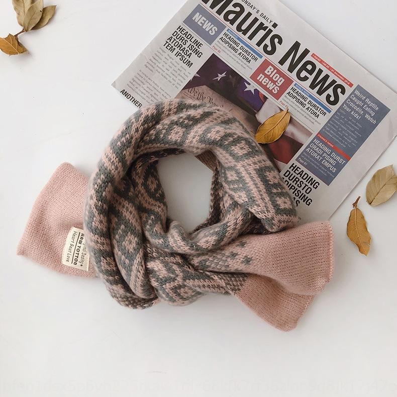 J32 East Gate INS small Warm flower knitted wool children's scarf warm baby's scarf