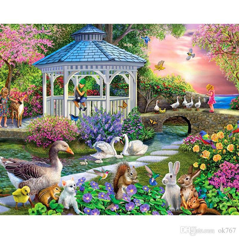 Quadrato Figura fai da te punta di diamante della pittura Punto Croce Cartoon Swan Garden Strass ricamo mosaico Home Decor completa Diamond Cross-stitch
