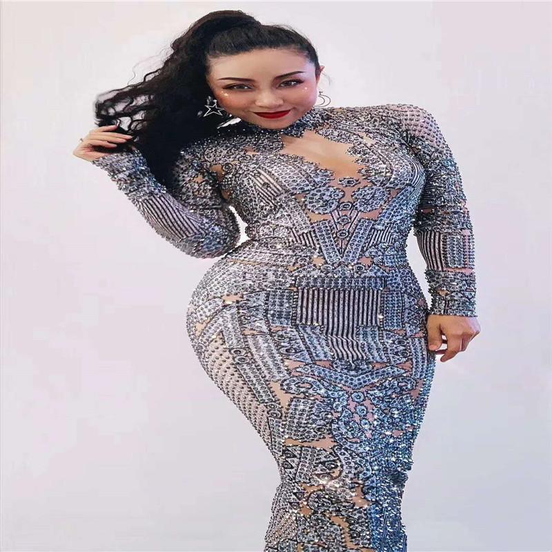 T51 soirée sexy pleine strass cristal robe longue sac femme hip jupe diamants femmes costume de danse club party de vêtements chanteur Proom porte