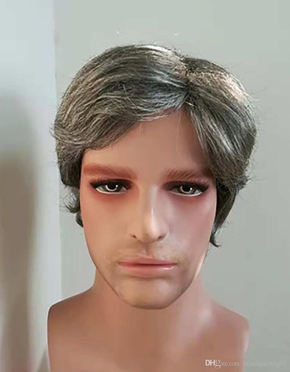 Mens parrucchino sintetico pizzo anteriore parrucche d'argento-bianco Fiore-White Parrucche parrucchino per gli uomini Moda Uomo Trend Toupee dei capelli capelli umani parrucca Uomini