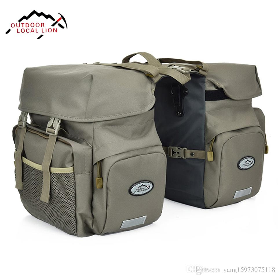 Retro Canvas Bicycle Carrier Bag 50L Rear Rack Trunk Bike Luggage Back Seat Pannier Reflectivs Cycling Storage Two Bag