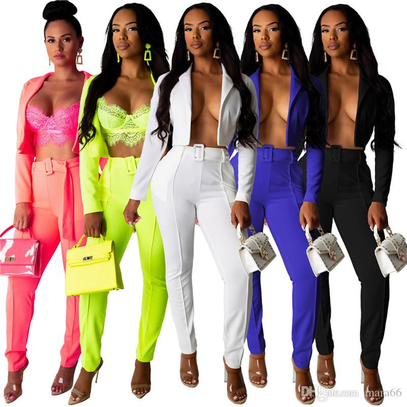 Women casual suits blazers 2 piece set long sleeve coat skinny pants belt designer fall winter clothing candy color fashion lady suit 1019