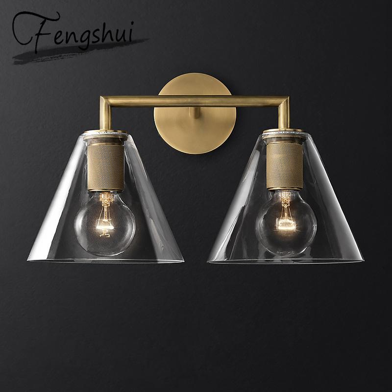 Nordic Iron Glass LED Wall Lamps Indoor Decor Cone Sconces Light Fixture Living Room Bedroom Bedside Corridor Design Wall Light
