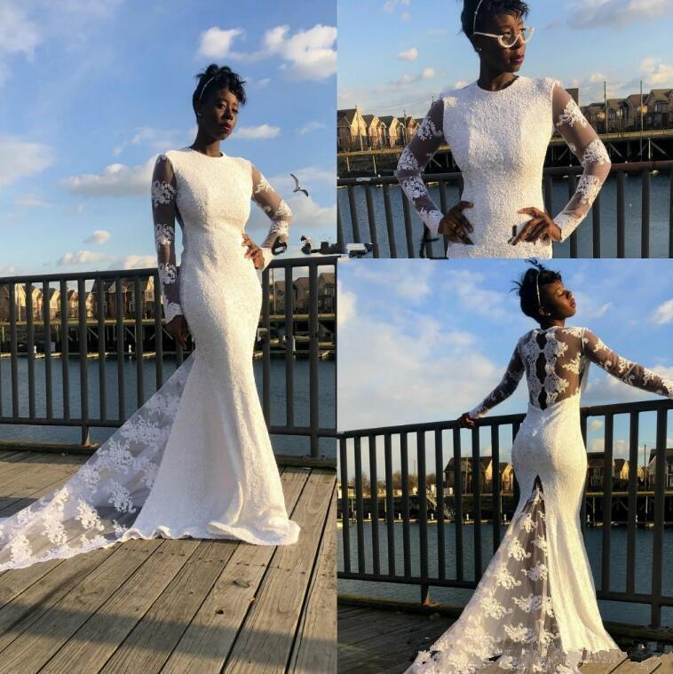 Chegada nova África Nigeriana Mermiáceos Vestidos de Noiva Jóia Ver através de Longa Manga Lace Applique vestidos nupciais Vestido de Noiva