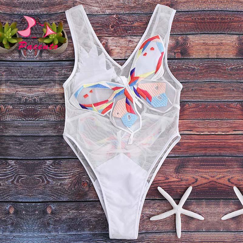 Pacento Embroidery Butterfly Swimsuit Sexy One Piece Swim Suit Mesh Swimwear Female Bathing Suit Women Monokini 2020 Plavky Damy