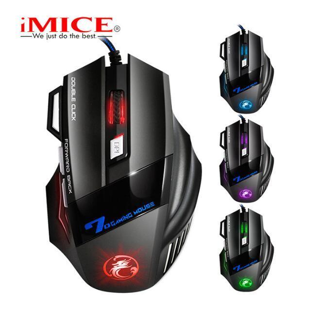 원래 iMICE의 X7의 USB 유선 게이밍 마우스 7 개 버튼 2400DPI LED 광학 유선 케이블 게이머 마우스 컴퓨터 노트북 전문 게임 마우스