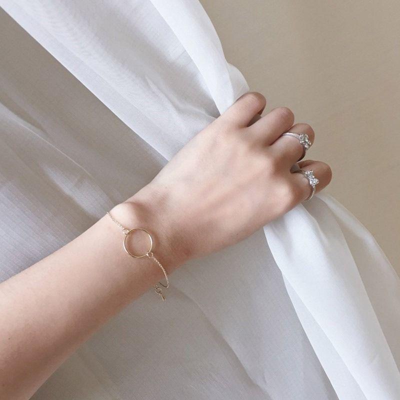 Women Bracelet Circle Bracelets Bangles Ladies Jewellery Hand Made Couples Fashion Trendy Silver Color Zinc Alloy Set Pulseras