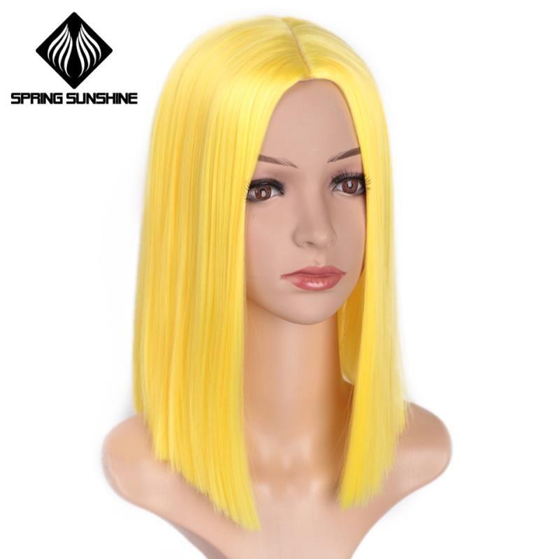 soleil de printemps droites courtes Bob Violet Jaune Orange Rose synthétique perruques pour les femmes de 12 pouces Moyen partie Glueless Cosplay Perruques