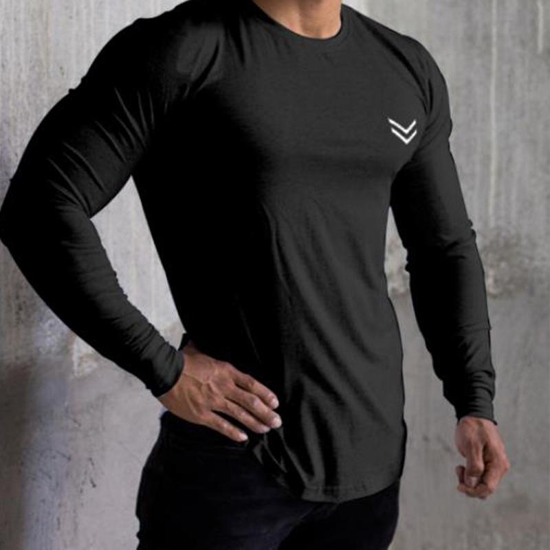 Chemises simples hommes Slim Fit à manches longues T Muscle Gym Workout chemise Hauts Bodybuilding Chemisier