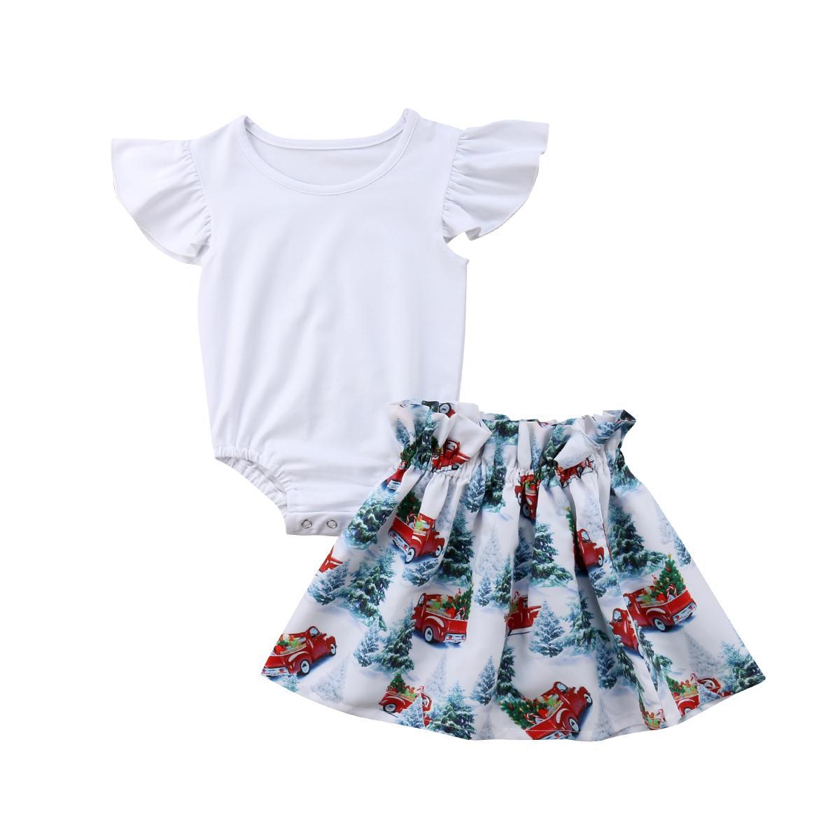 2шт новорожденных малышей Baby девочка наряды одежда комплект Муха рукав твердых комбинезон Туту мини-юбки наряд