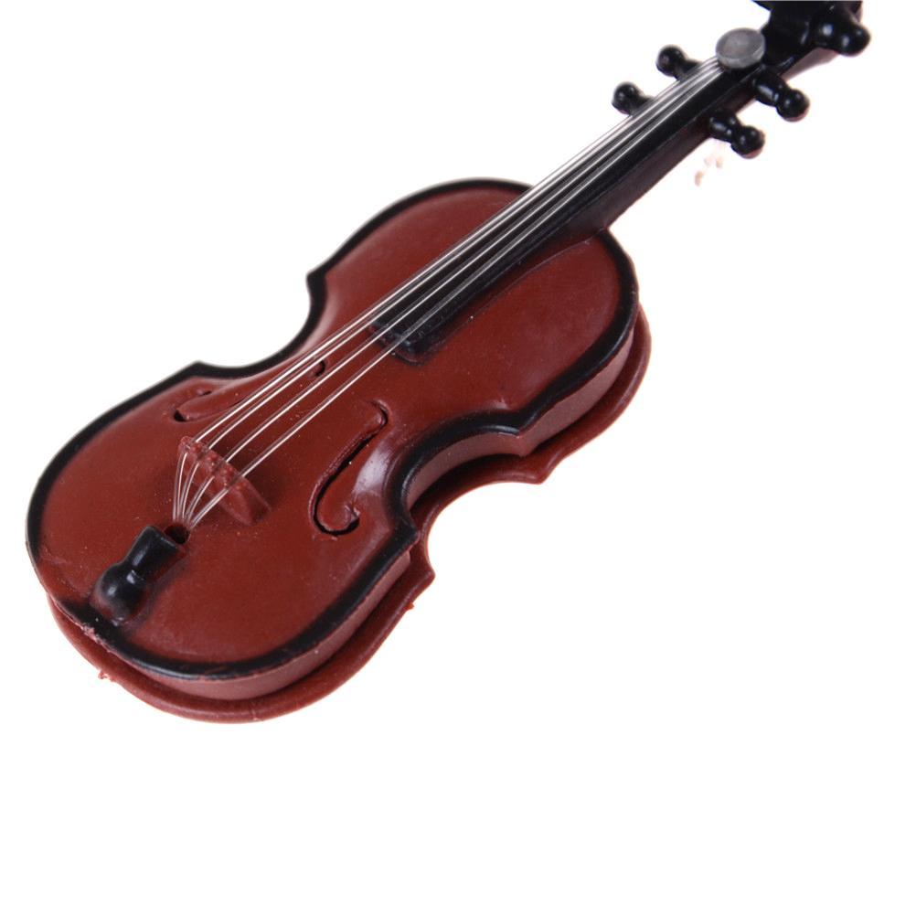 2pcs plastica mini violino casa delle bambole decorativo strumento musicale LO