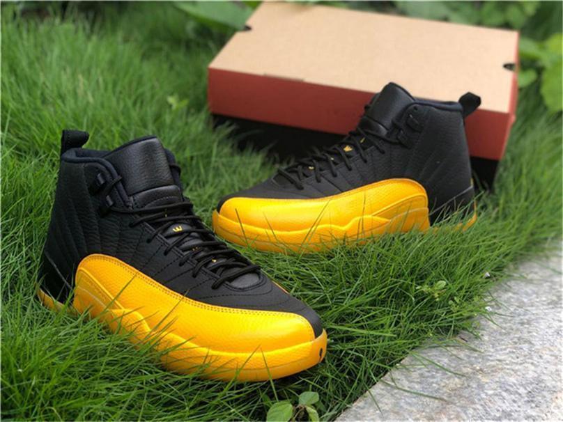 2020 Sapatos de liberação de ar 12 Universidade PE Ouro Preto basquete masculino 130690-070 ouro 12S preto real Carbon Fiber Authentic Sneakers Tamanho 7-13