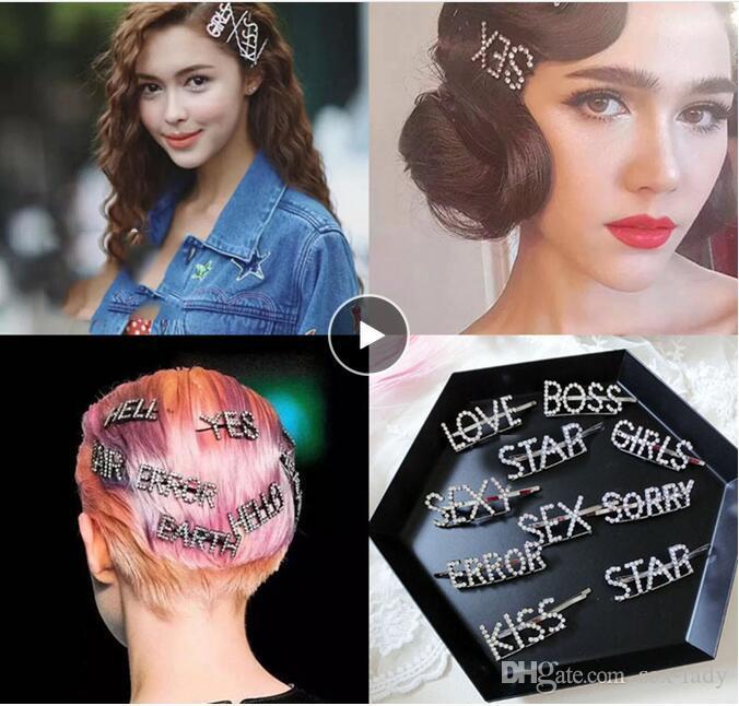 Popular Fashion English Letter Rhinestone Hairgrip Women Hair Clips Barrette Accessories For Girls Pearls Hairpin Hairclip Headdress