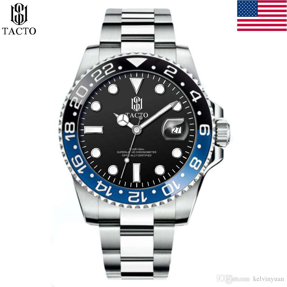 Tacto 2019 Uhr-Mann-Top-Marke Luxus-Militärarmee-Sport-Armbanduhr Rose Gold Diver Male Quartz Steel Armbanduhr