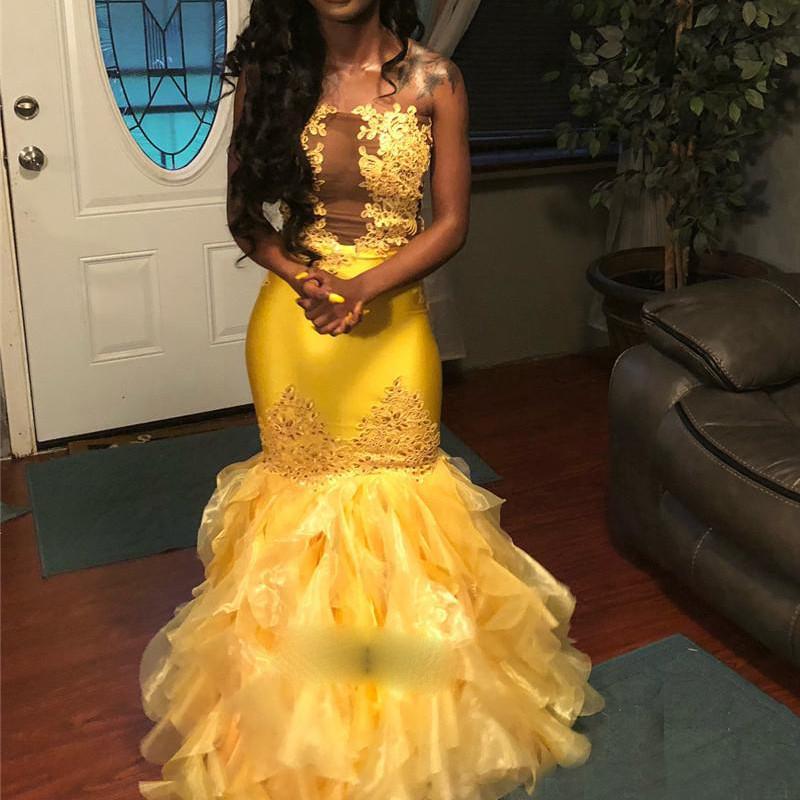 Yellow Mermaid Evening Dress Ruffles Illusion Prom robe soiree Islamic Dubai Kaftan Saudi Arabic Evening Gown