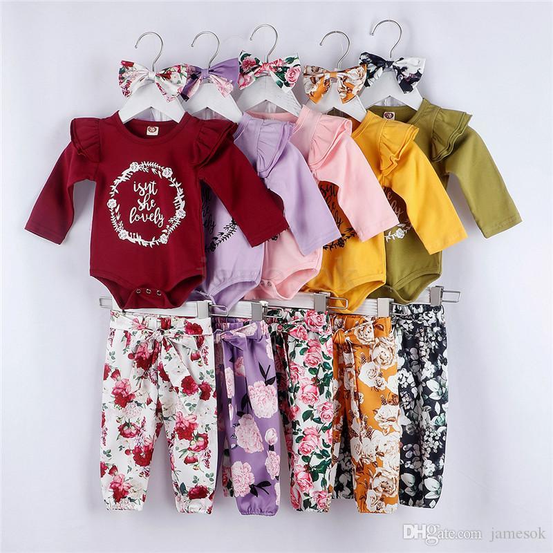 Pantalones Ropa de bebé ins floral Conjunto Carta volante de manga larga Romper + Top + Flower Floral arco de la venda de Acción de Gracias Equipos 3pcs / DA238 conjunto