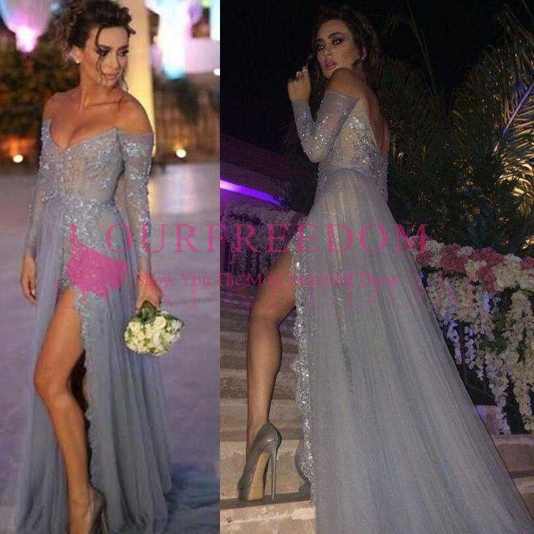2020 gris claro tul vestidos de dama fuera del hombro de manga larga de encaje apliques lateral atractivo dividir una línea criada del huésped de la boda del vestido