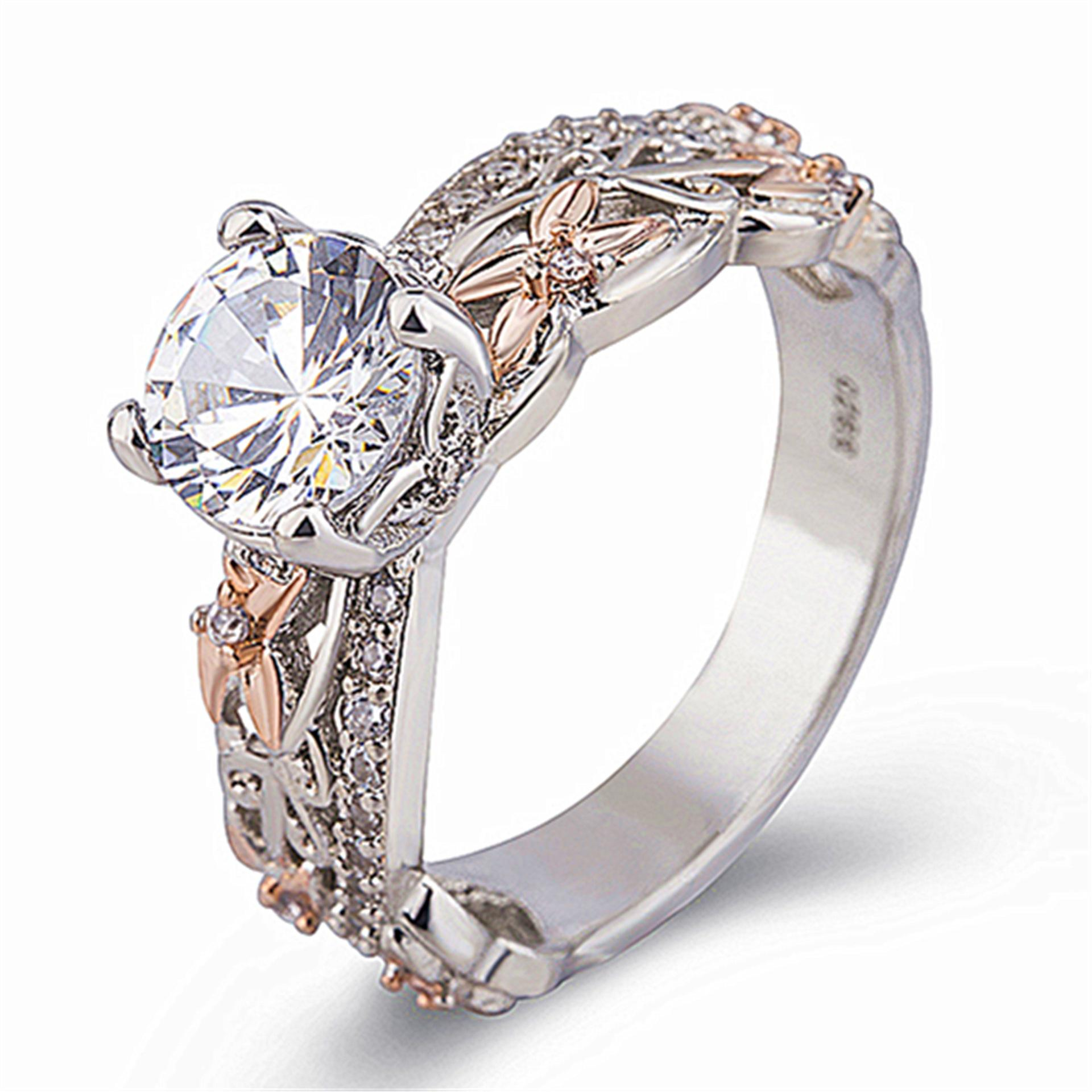 Fashion Silver And Rose Gold Diamond Finger Rings Wedding Crystals Ring for Women Jewelry Female Accessories