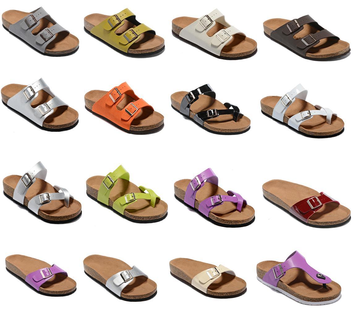 diseño de moda nuevo estilo de la mujer de los hombres s sandalias planas cómoda ocasional de dos hebilla con los zapatos del verano de la playa caja de cuero auténtico Zapatilla unisex