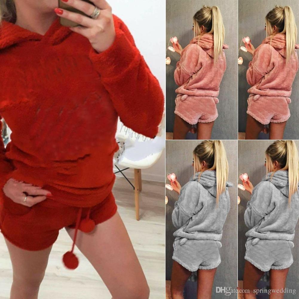 info pour gamme complète d'articles meilleur prix Women Coral Velvet Suit Two Piece Autumn Winter Pajamas Warm Homewear  Pyjama Cute Cat Meow Pattern Hoodies Shorts Set FS5867 UK 2019 From ...