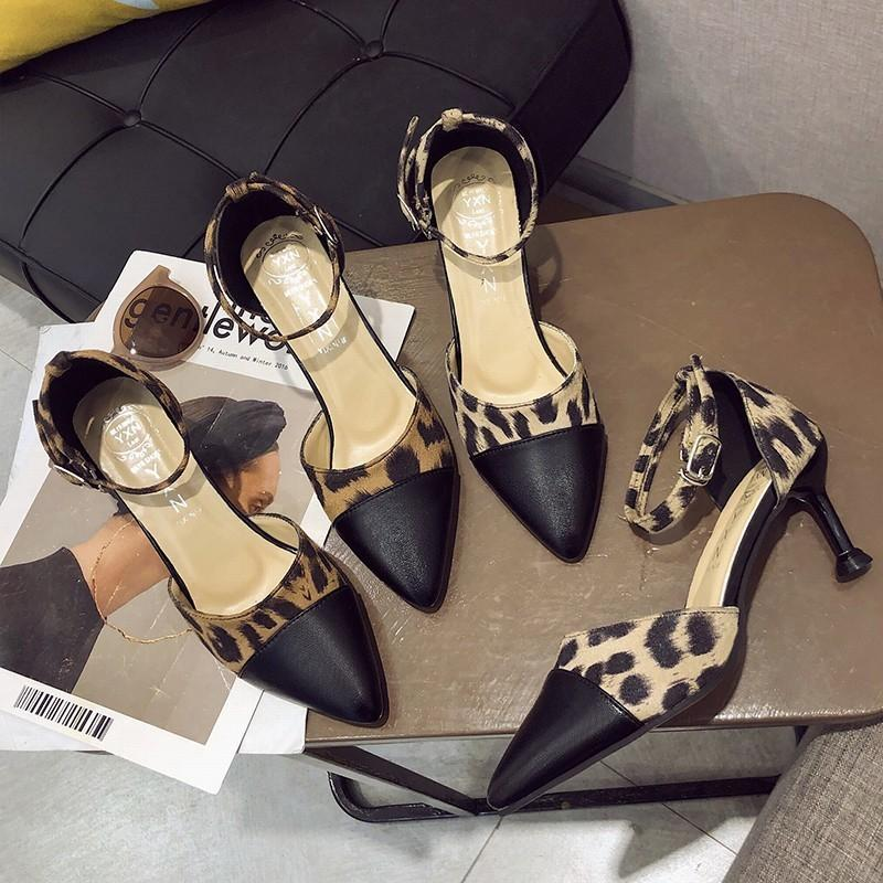 Pretty2019 One Concise Buckle Leopard Print Coarse With Sharp High-heeled Shoes Cavity Single Shoe Woman Tide