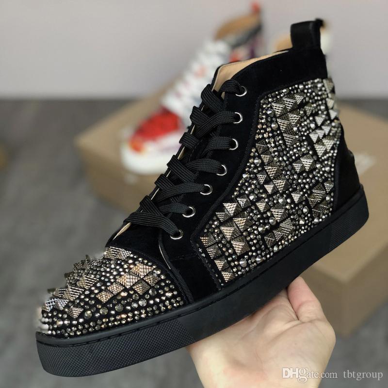 Nuovo inferiore rossa Junior Orlato sneakers alte scarpe Spikes Piso in Mens e le donne di lusso scarpe Spikes Round-toe partito di buona qualità US5-13