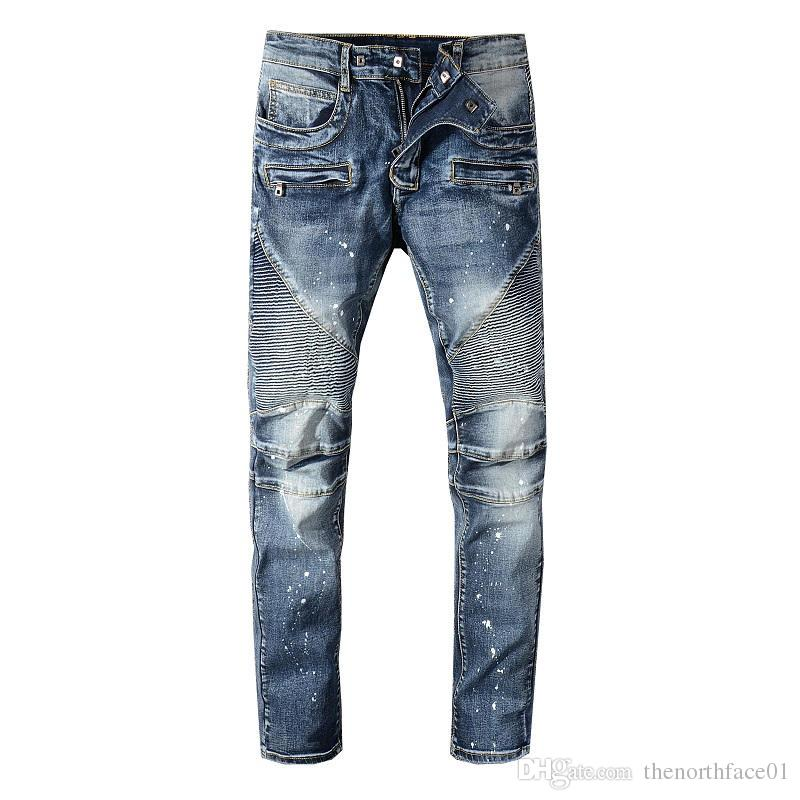 good looking reasonable price size 7 2019 Balmain Fashion Wholesale Men Fashion Brand Designer Ripped Biker  Jeans Man Distressed Moto Denim Joggers Washed Pleated Green Jeans From ...