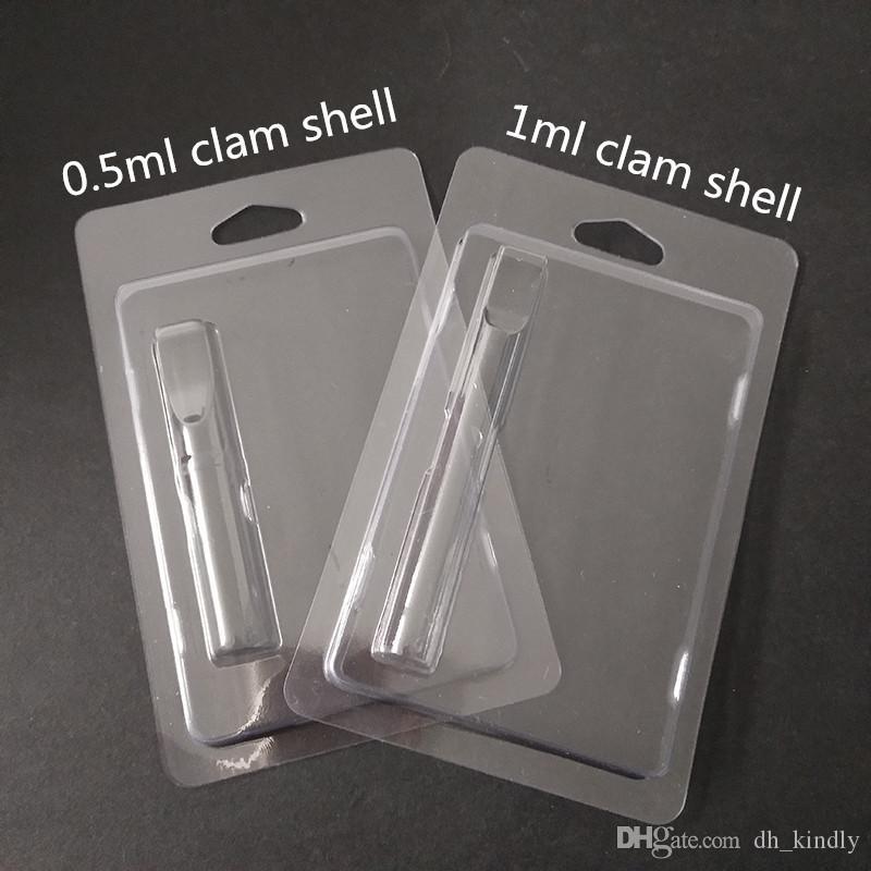 Montare tutte le cartucce penna tipo 0,5 ml 1,0 ml vaporizzatore imballaggio Clam Shell Clamshell pacchetto cartucce Vape