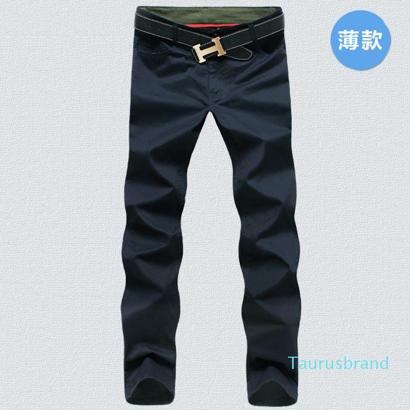 9 pantalones de algodón para hombre de color clásico chándal de los hombres de alta calidad de los pantalones ocasionales de los hombres ropa de color caqui Negro pantalones pantalones YE08