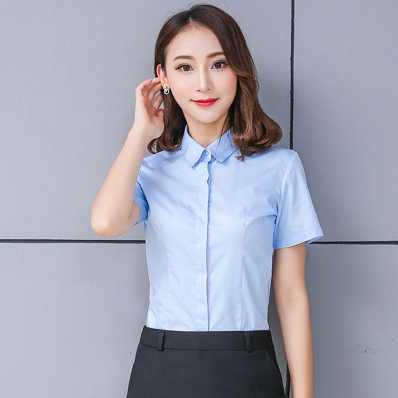 INS 화이트 셔츠 여성 반소매 80면 비 다림질 여자 인터뷰 작업복 비즈니스 착용 사용자 정의 자수 로고 셔츠