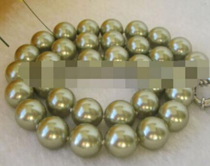 FREE SHIPPING+ 12mm perfect round green south sea shell pearl necklace