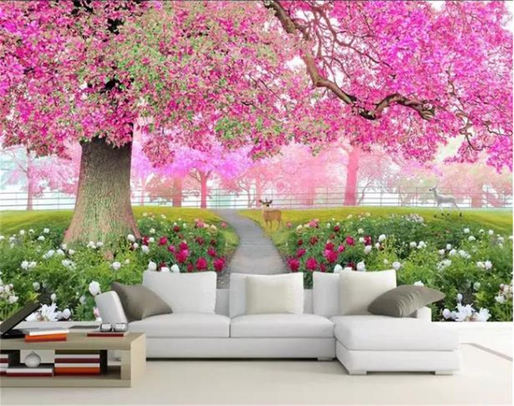 Custom Photo 3d Wallpaper Flower Sea Cherry Blossom Tree Walkway