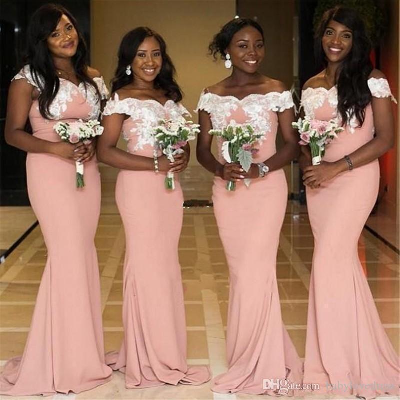 2019 novo africano off ombro sereia vestidos de dama de honra branco apliques sweep trem plus size convidados do casamento vestidos de dama de honra dress