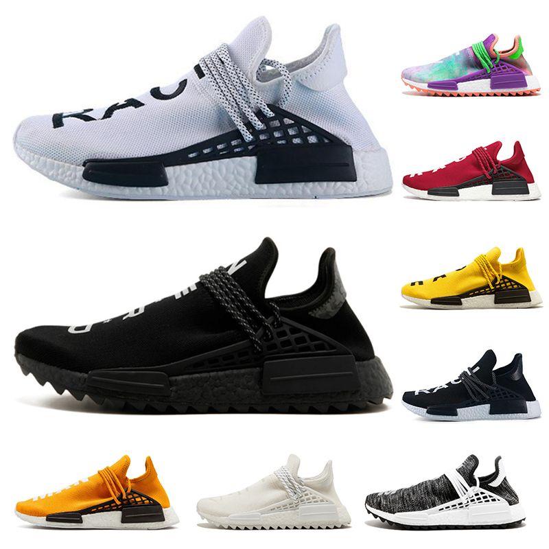 human sapatilhas de Raça Humana sapatos para homens mulheres pharrell williams NERD PRETO creme preto branco mens trainer esportes correndo