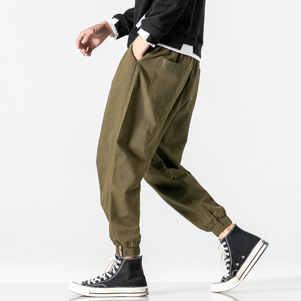 Automne Hiver Sarouel Casual Hommes Pantalons Harajuku Hip Hop Man lâche taille Overalls Simple sport Pantalon Dresowe GH4