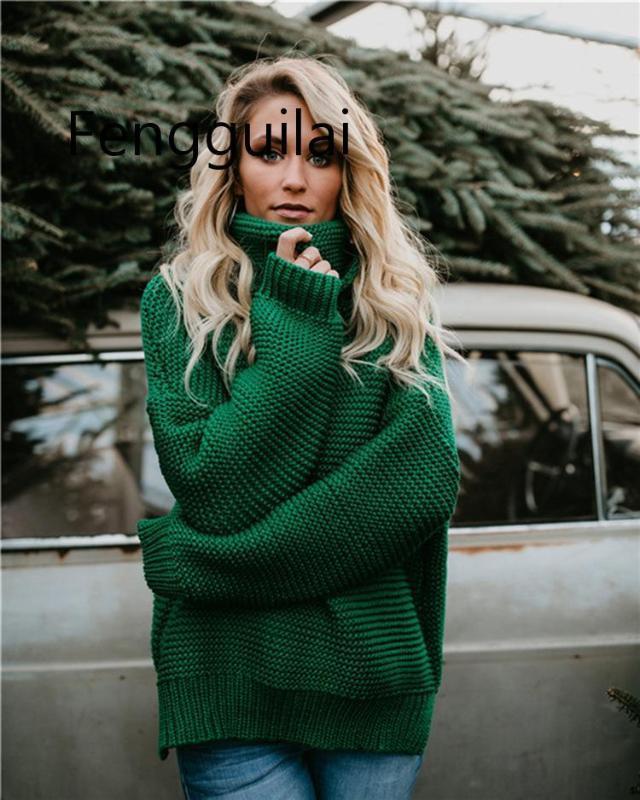 2020 Casual solta camisola de gola alta Mulheres malhas camisola 6 cores Mulheres manga comprida Outono Pullover Femme