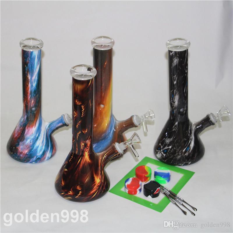 Bicchiere Becher Dab Rig tubo Bong Bong Heady Mini Acqua olio denso impianti di perforazione tubi a nido d'ape narghilè cera fumo Bowl gorgogliatore con DAB pad