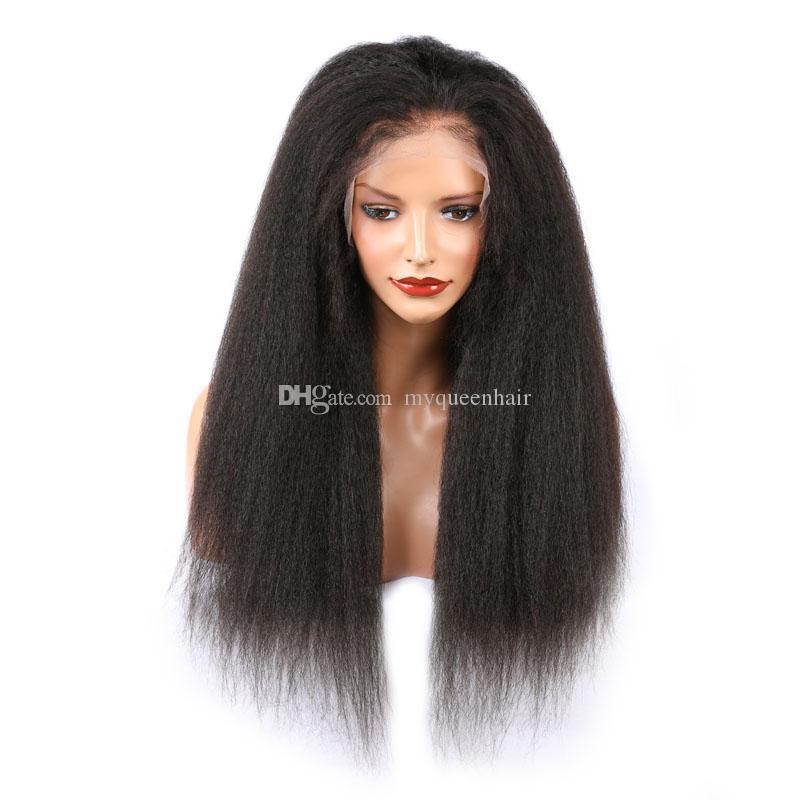 Tam Dantel İnsan Saç Peruk Öncesi Mızraplı Kinky Düz Virgin Brezilyalı Saç Tutkalsız İtalyan Yaki 360 Dantel Frontal İnsan Saç Peruk