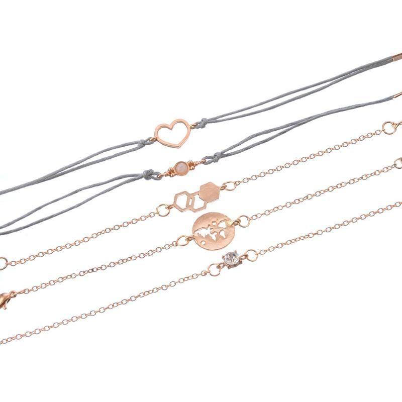 Tisonliz 5Pcs / Set Vintage Coeur d'Opale Cristal Bracelets Ensemble pour les femmes géométriques en métal Bracelet Déclaration Bijoux Bracelets Mujer
