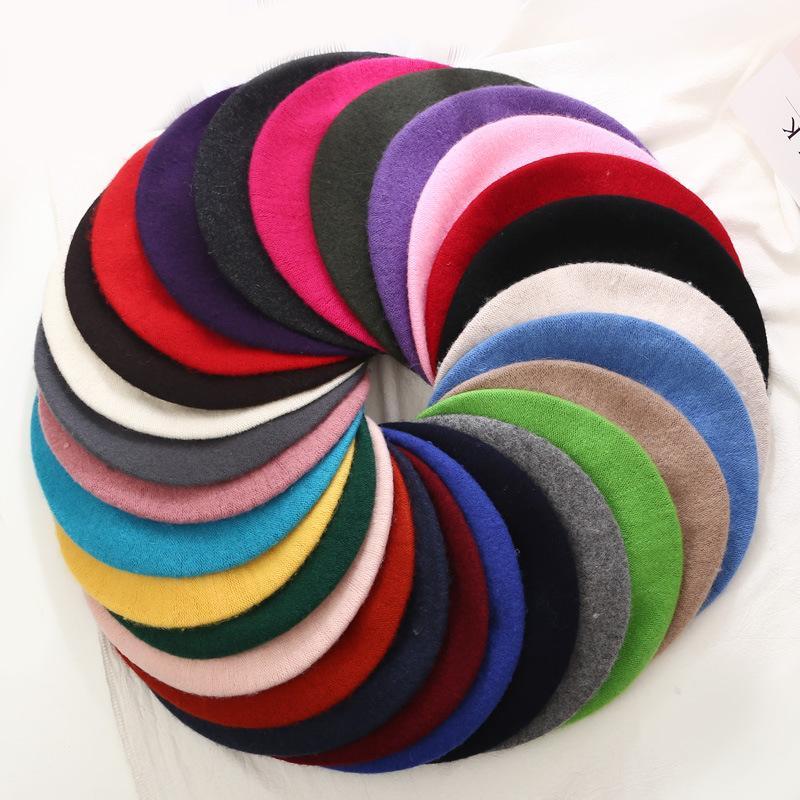 سيدة الربيع القبعات قبعة الشتاء الرسام نمط قبعة الصوف المرأة القبعات خمر الصلبة لون قبعات أنثى بونيه دافئ المشي كاب