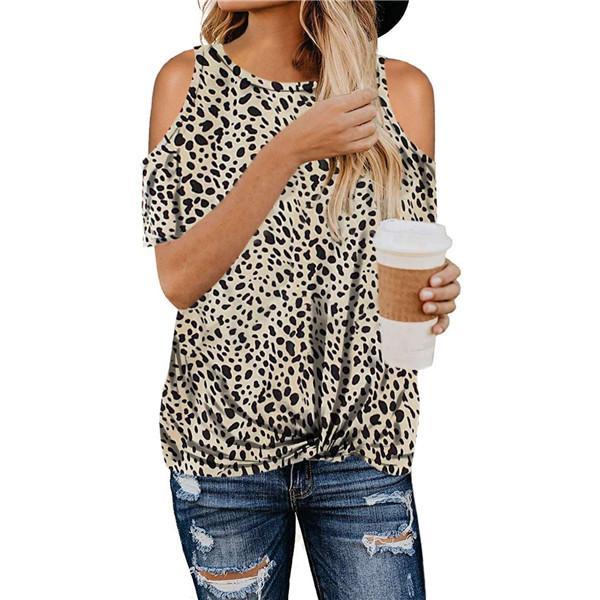 Womens Sexy Leopard camisetas Feminino Off The Shoulder manga comprida Tops Primavera Ladies solto Crew Neck Tees
