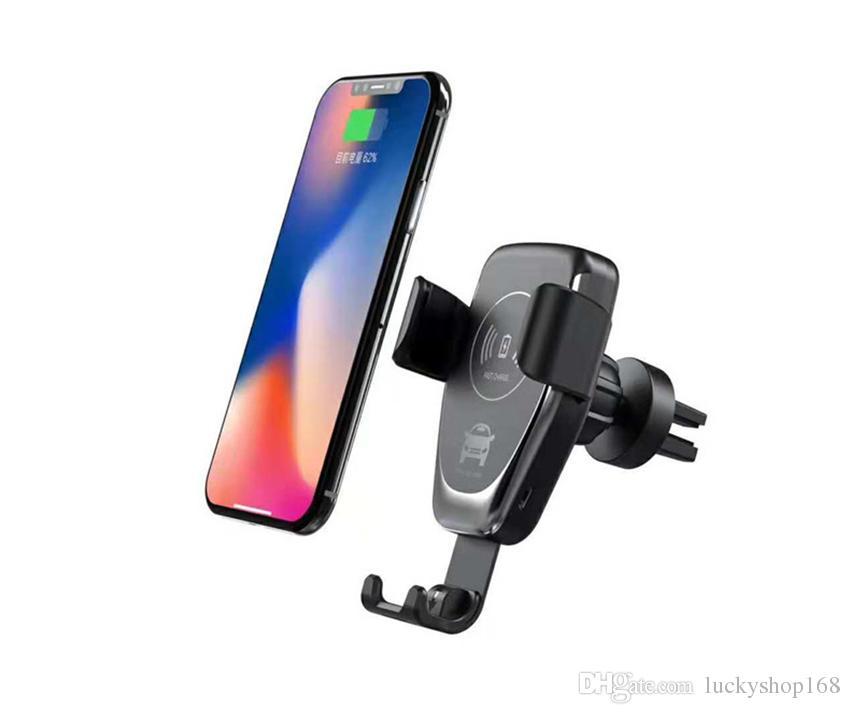 Car Mount 10W Qi Chargeur sans fil pour iPhone XS Max X XR 8 Charge rapide Pad rapide Rechargement sans fil Support de voiture stand DHL 120pcs